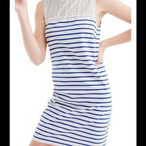 J crew eyelet accent striped dress small petite